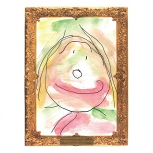 Gold framed watercolor paper
